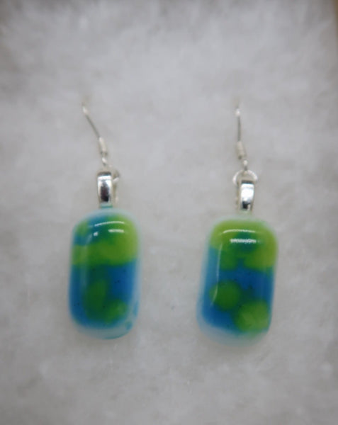 Earrings | Mini | Marbled Hues of Green and Blue
