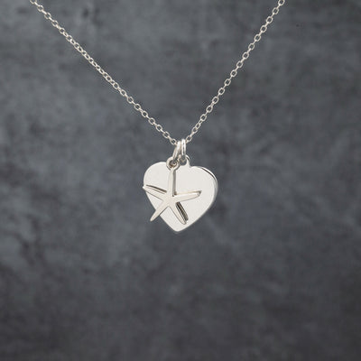 Sterling Silver heart & starfish Charm pendant necklace