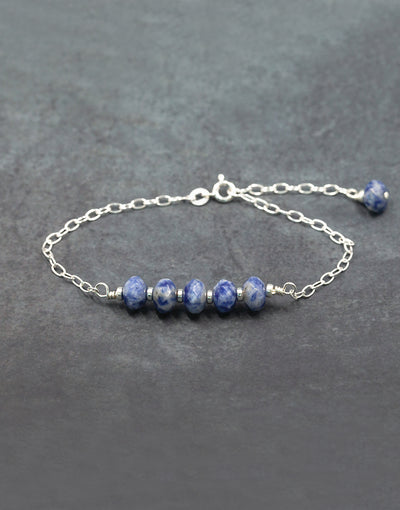Sterling silver bracelet with agate and sterling silver beads.