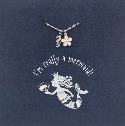 I'm really a mermaid! Jewellery Card Seahorse and enamel flower charm & silver plated chain