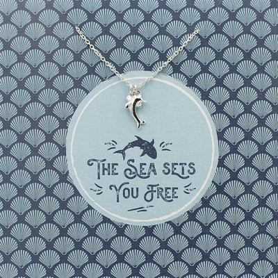 The Sea sets you free Silver plated Dolphin charm & chain on card