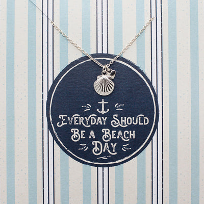 Everyday should be a beach day Jewellery Card Silver plated shell & chain