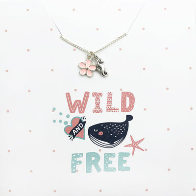 Wild & Free seahorse and flower enamel charm with chain on card
