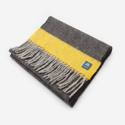 The Sea Shed Lambswool Scarf - Ochre Stripe