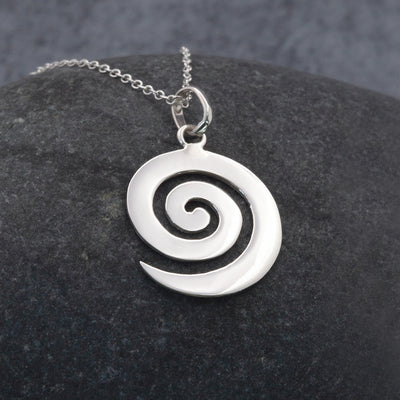 Large Wave Sterling Silver pendant necklace by The Sea Shed Cornwall