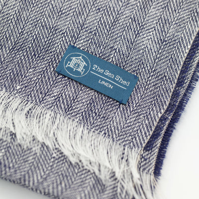 100% Linen Scarf Dark Blue Close Up