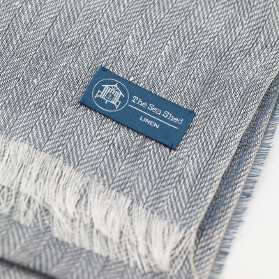 100% Linen Scarf Light Blue Close Up