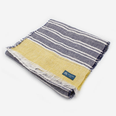 The Sea Shed Linen Scarf - Nautical Stripes Citrus