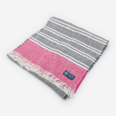 The Sea Shed Linen Scarf - Nautical Stripes Raspberry