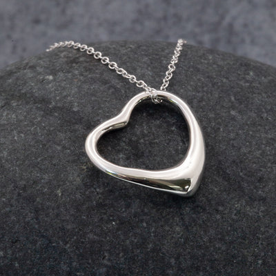 Open Heart Sterling Silver pendant necklace by The Sea Shed