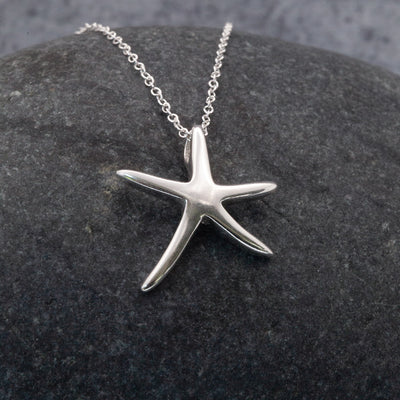 St Ives Starfish Sterling Silver pendant necklace by The Sea Shed Cornwall