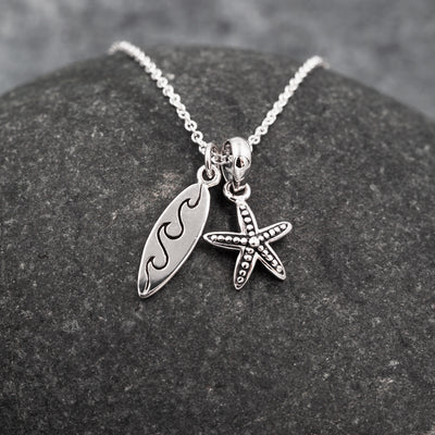 The Sea Shed Sterling  Silver Surfboard  & Starfish pendant