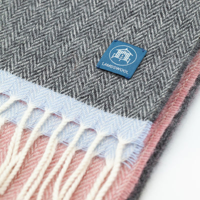 The Sea Shed Lambswool Scarf - Grey/Pink/Light Blue