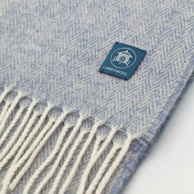 100% Lambswool Scarf Light Blue Close Up