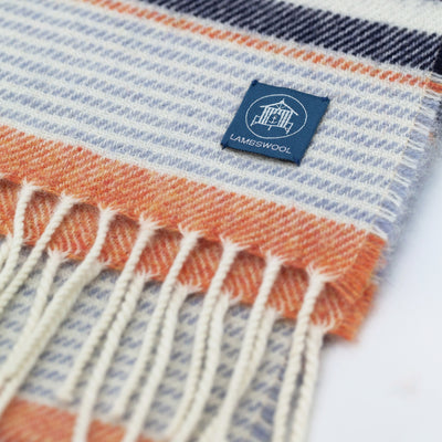 The Sea Shed Lambswool Scarf -  Nautical Stripe Navy/Amber