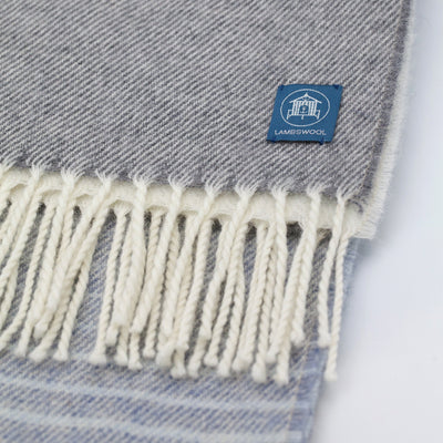 The Sea Shed Lambswool Wrap/Blanket Scarf - Stripe Light Blue/Off White