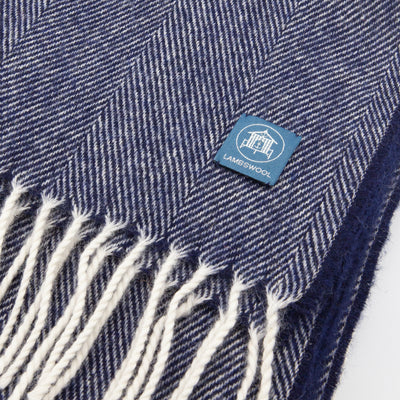 The Sea Shed Lambswool Wrap/Blanket Scarf - Navy