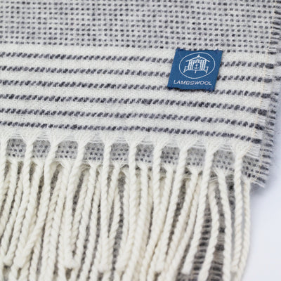 The Sea Shed Lambswool Wrap/Blanket Scarf - Stripe Charcoal/Off White