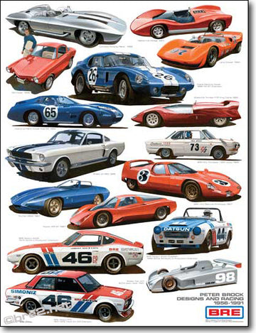 "BRE Peter Brock Automotive Designs and BRE Race Cars 22"" X 28"""