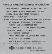 Vehicle Emission Control Information Decal 1970 (240Z)