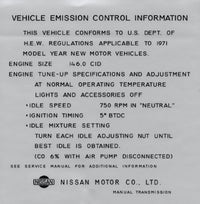 Vehicle Emission Control Information Decal 1971 (240Z)