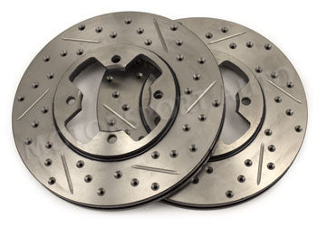 Front StopTech Cross Drilled/Slotted Brake Rotors 1979-83 (280ZX) (Pair)