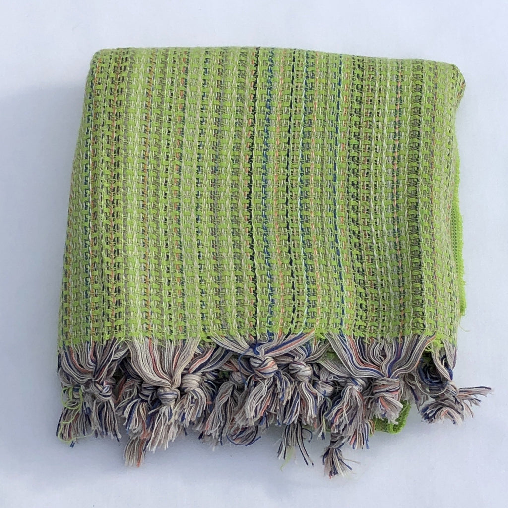 "Flat Woven ""Zest"" Stripe Bath Towel / Throw in Green Multi"