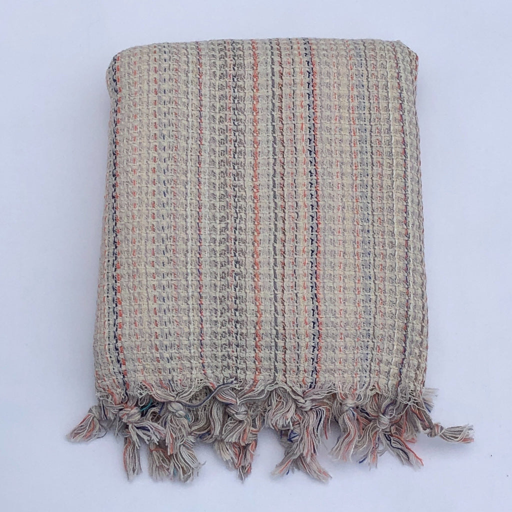 "Flat Woven ""Zest"" Stripe Bath Towel / Throw in Taupe Multi"