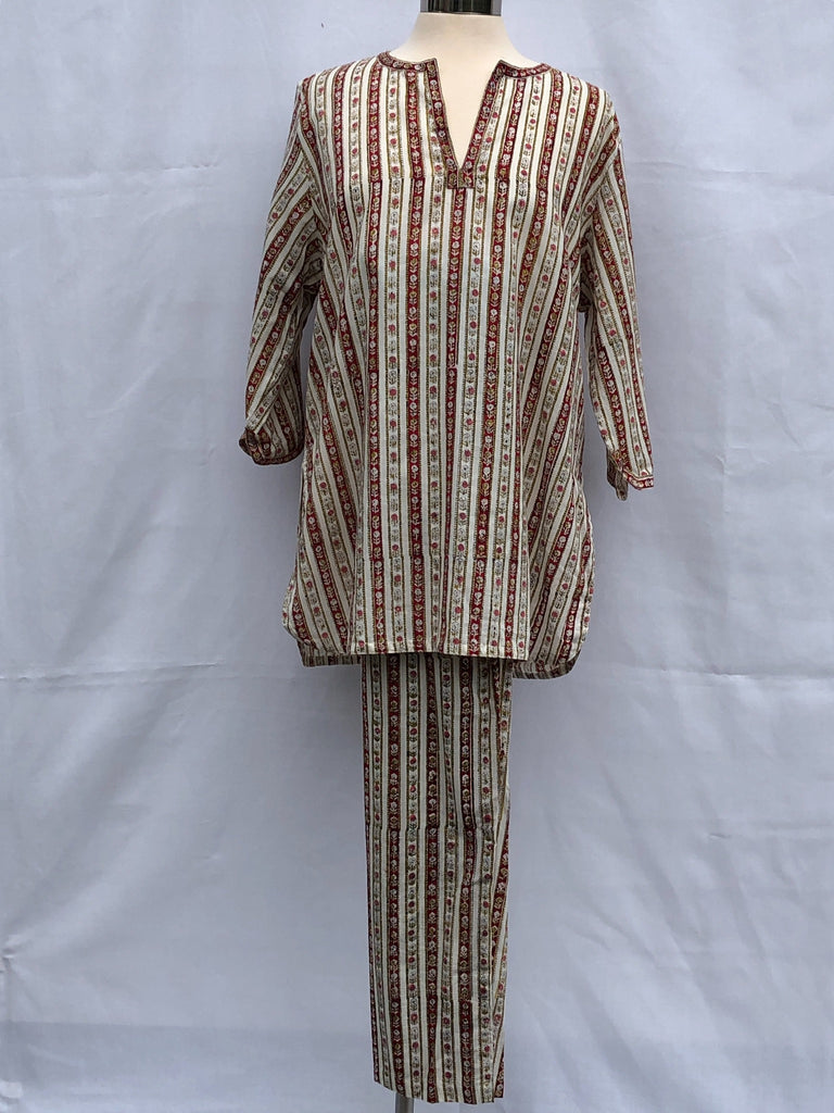 Anokhi Pajamas in Red Floral Stripe