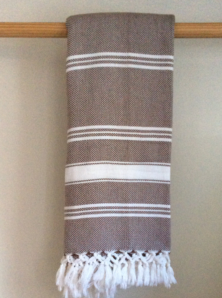 Handwoven Blanket In Coffee and White Stripes