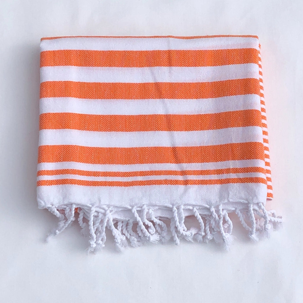 "Flat Woven ""Summer Stripe"" Bath Towel / Throw in  Bright Orange"
