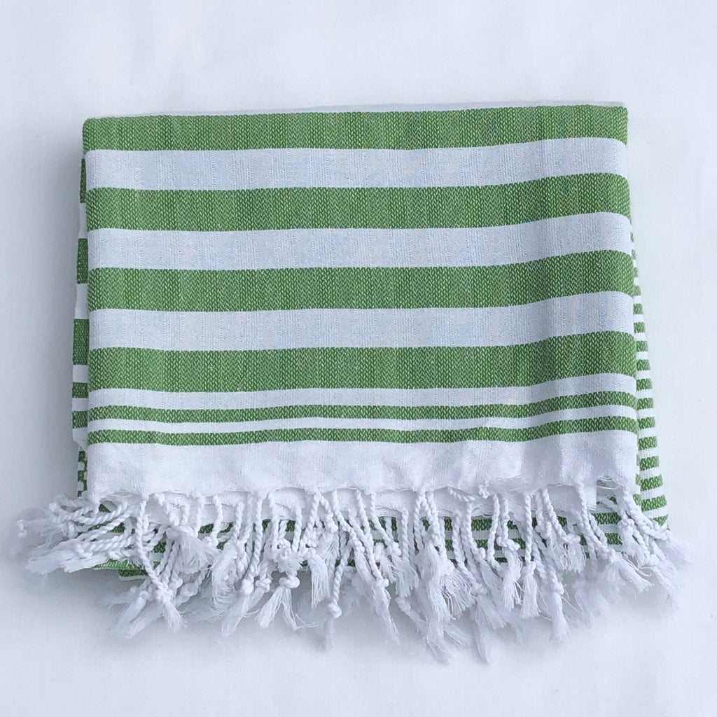"Flat Woven ""Summer Stripe"" Bath Towel / Throw in  Bright Green"