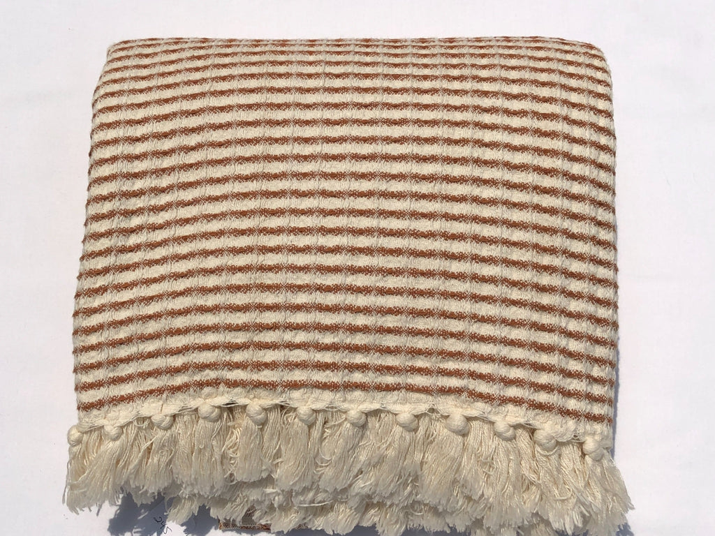 Handwoven Blanket in Cappuccino Waffle Stitch