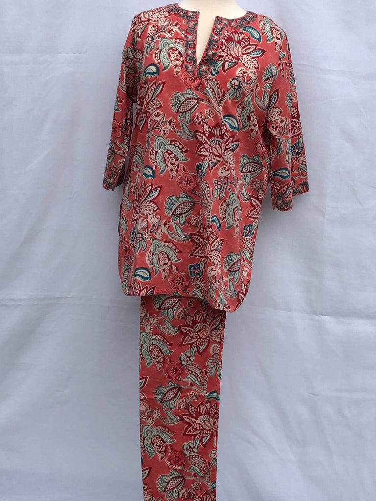 Anokhi Pajamas in Bright Tulips on Coral