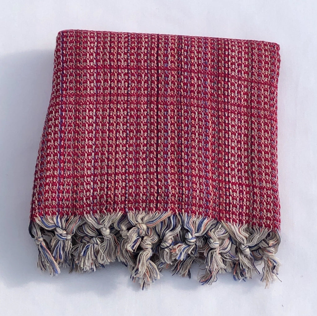 "Flat Woven ""Zest"" Stripe Bath Towel / Throw in Raspberry"