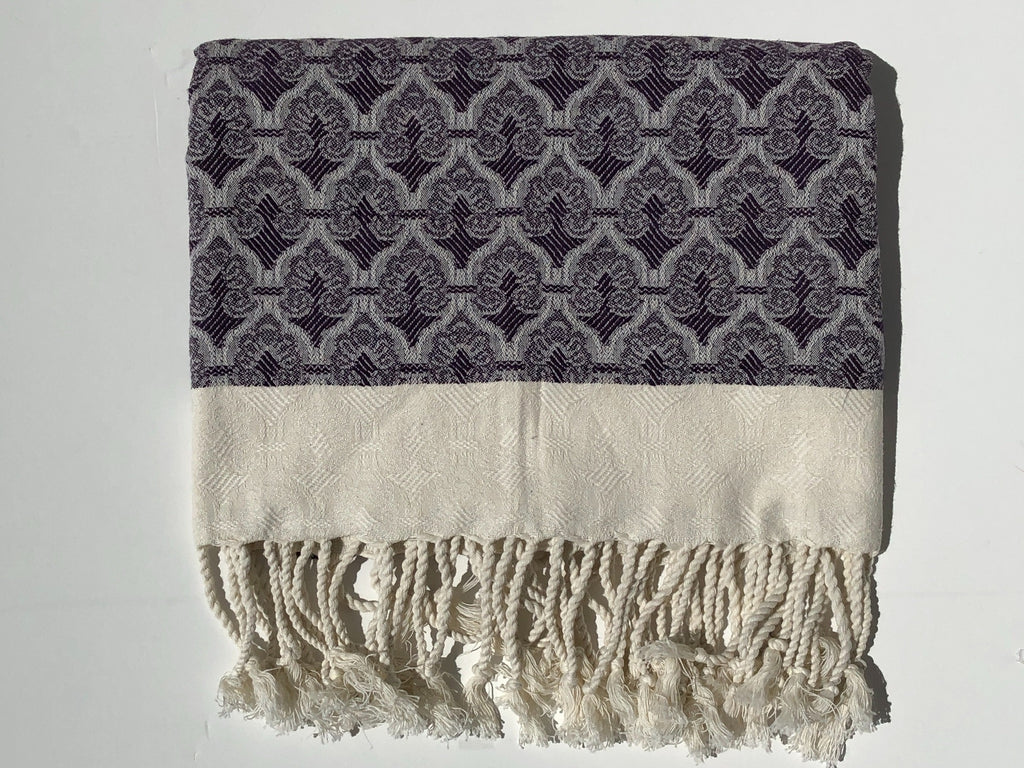 "Double-Thread ""Osmanli"" Bath Towel / Throw in Aubergine"
