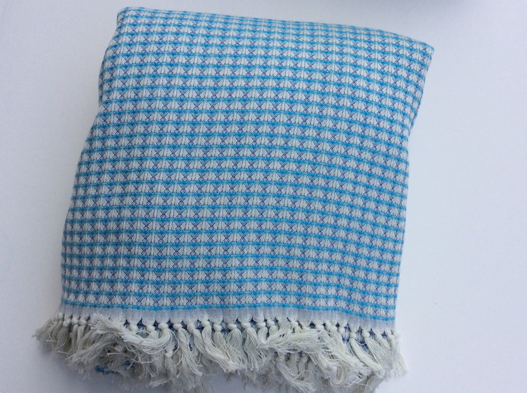 "Handwoven ""Golden Horn"" Blanket in Blue and Turquoise"
