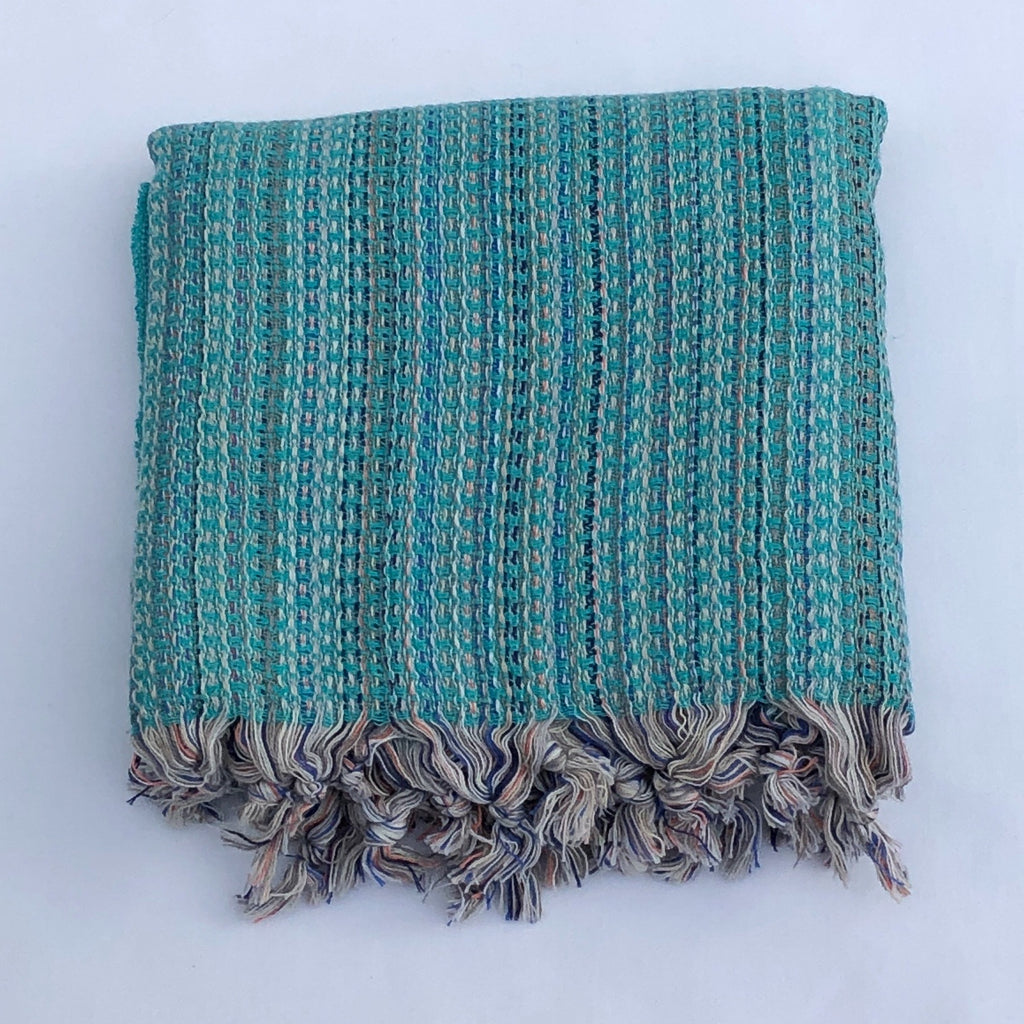 "Flat Woven ""Zest"" Stripe Bath Towel / Throw in Turquoise"