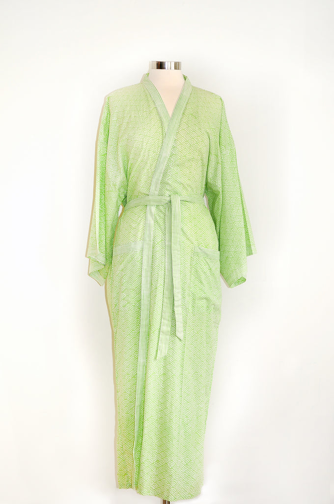 Anokhi Bathrobe in Spring Green Dot