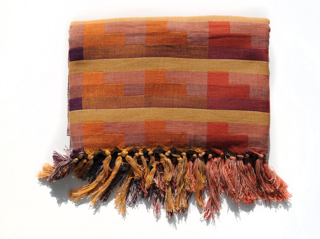 Double-Weave Throw Blanket in Red, Yellow and Orange Plaid