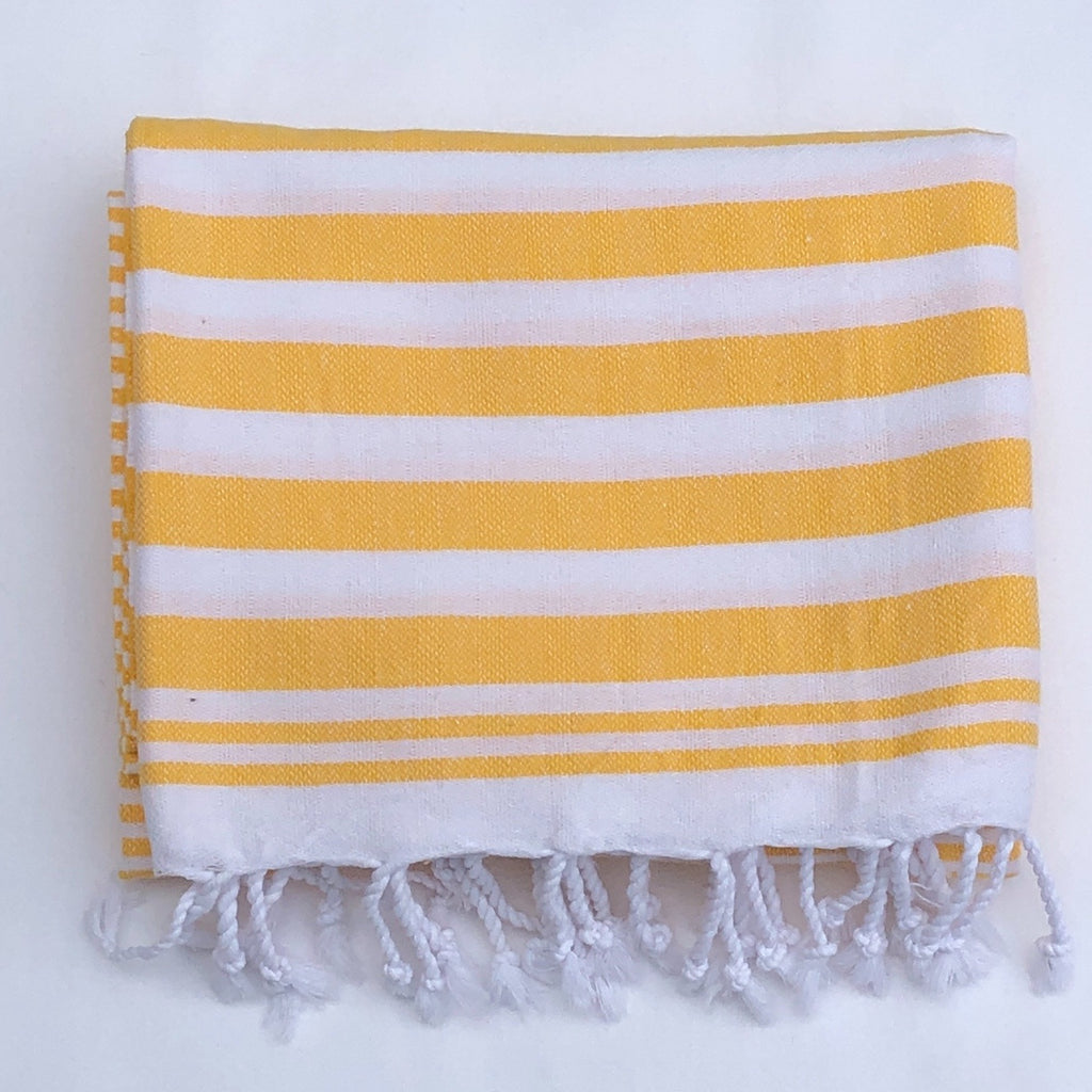 "Flat Woven ""Summer Stripe"" Bath Towel / Throw in Bright Yellow"