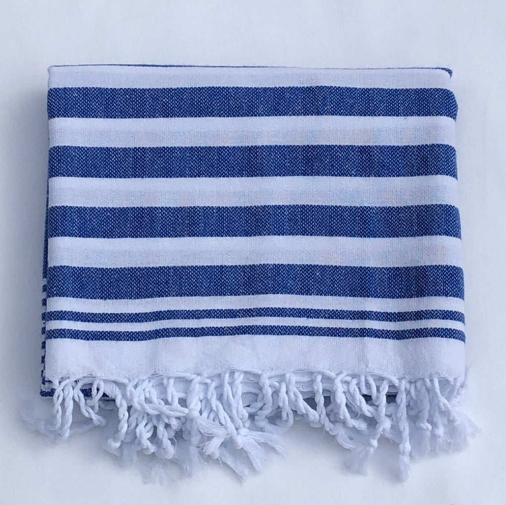 "Flat Woven ""Summer Stripe"" Bath Towel / Throw in  Parliament Blue"