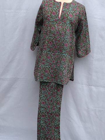 Anokhi Pajamas in Small Pink Floral on Green