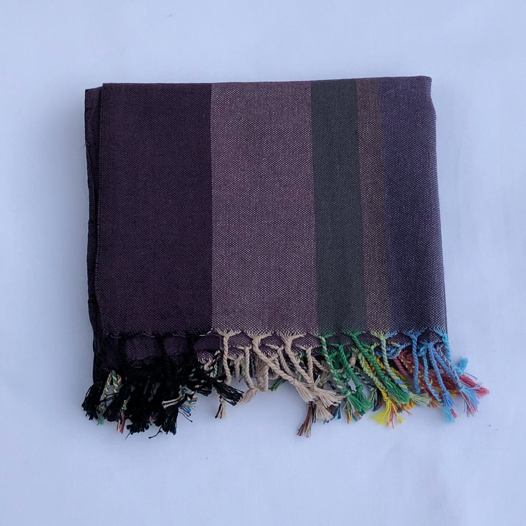 Flat Woven Multi Stripe Bath Towel / Throw in Purple
