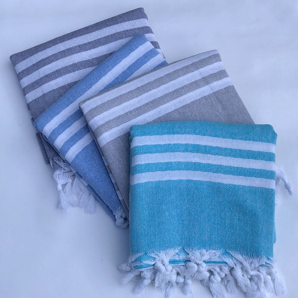 Flat Woven Bath Towel / Throw in Pastel Stripe, Light Grey