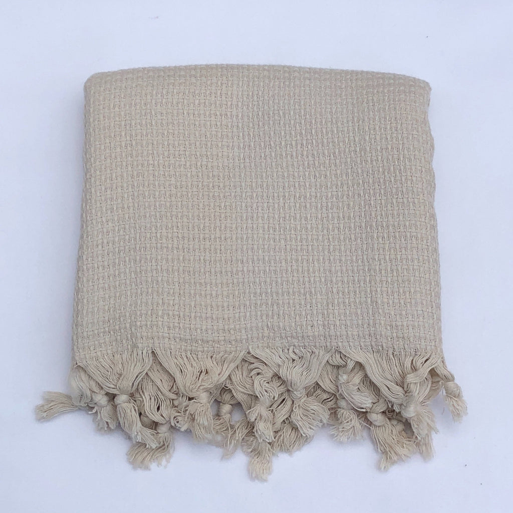 "Flat Woven ""Zest"" Stripe Bath Towel / Throw in Light Taupe"