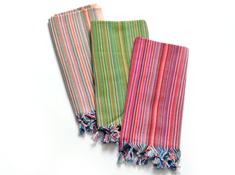 Flat Woven Hand Towel / Peskir in Multicolor Stripes