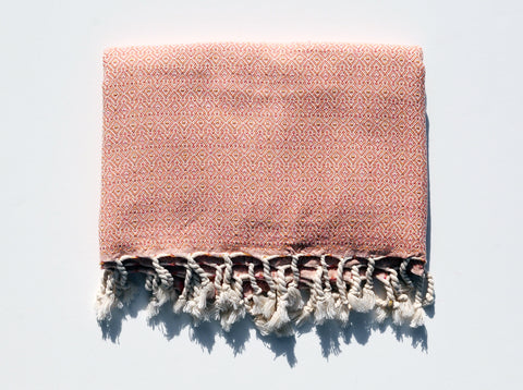"Double-Thread ""Mirab"" Bath Towel / Throw in Orange"