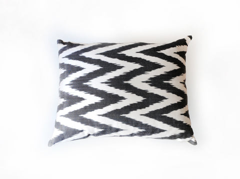 Silk Ikat Pillow in Black and White Chevron Zig-Zag