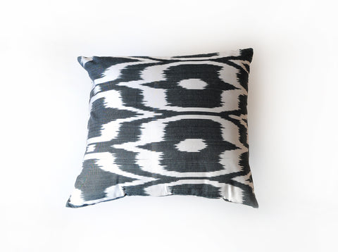 Silk Ikat Pillow in Black and White Geometric